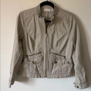 Chico's Khaki Jacket w/Rhinestone Collar